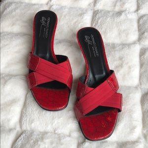 Donald J Pliner red strap heels